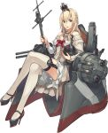 1girl bangs bare_shoulders blonde_hair blue_eyes braid breasts chair cleavage corset cross crown dress flower french_braid full_body garter_straps globus_cruciger hair_between_eyes hairband high_heels holding jewelry kantai_collection konishi_(koconatu) lace lace-trimmed_dress legs_crossed long_hair long_sleeves machinery mary_janes mast medium_breasts mini_crown necklace off-shoulder_dress off_shoulder official_art open_mouth orb red_flower red_ribbon red_rose ribbon rose scepter shoes sitting smile solo thighhighs throne transparent_background turret warspite_(kantai_collection) white_dress white_legwear zettai_ryouiki