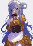 1girl apron arm_behind_back asari_nanami bangs blue_eyes blue_hair blunt_bangs blush bodice breasts brown_dress buttons chocolate collared_dress dress eating eyelashes fish_hair_ornament food fork grey_background hair_ornament hairclip half_updo heart highres hime_cut holding holding_fork idolmaster idolmaster_cinderella_girls juliet_sleeves koishiriver long_hair long_sleeves looking_at_viewer maid maid_headdress open_mouth plaid plaid_dress puffy_sleeves round_teeth sidelocks simple_background small_breasts solo swept_bangs taiyaki tareme teeth thighhighs upper_body very_long_hair wagashi waist_apron walking white_legwear
