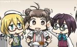 3girls ahoge antenna_hair black_hair blonde_hair blue-framed_eyewear book brown_hair commentary_request curry curry_rice dated double_bun flying_sweatdrops food glasses green_eyes hamu_koutarou hiei_(kantai_collection) highres i-8_(kantai_collection) kantai_collection multiple_girls naka_(kantai_collection) name_tag okinami_(kantai_collection) open_mouth red-framed_eyewear remodel_(kantai_collection) rice school_swimsuit short_hair sweat swimsuit takao_(kantai_collection) trembling