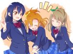 3girls :> :d blue_hair blue_jacket blue_skirt blush bow bowtie collared_shirt dark_blue_hair eyebrows_visible_through_hair furrowed_eyebrows highres jacket kousaka_honoka light_brown_hair long_sleeves looking_at_another love_live! love_live!_school_idol_project minami_kotori multiple_girls one_side_up open_mouth orange_eyes orange_hair otonokizaka_school_uniform plaid plaid_skirt quriltai red_bow red_neckwear round_teeth school_uniform shirt skirt smile sonoda_umi straight_hair teeth white_shirt