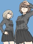 2girls black_skirt blue_background brown_eyes brown_hair cowboy_shot from_below girls_und_panzer hand_on_hip highres itsumi_erika kuromorimine_military_uniform looking_at_viewer looking_down miniskirt multiple_girls nishizumi_maho parted_lips pleated_skirt silver_hair simple_background skirt tuskryo