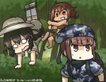!? 3girls backpack bag beret black_hair braid brown_eyes brown_hair camouflage camouflage_hat commentary_request crying crying_with_eyes_open dated forest grin hamu_koutarou hat helmet isonami_(kantai_collection) kantai_collection long_hair military military_uniform multiple_girls nature o_o pith_helmet rope sarong scarf shaded_face shiratsuyu_(kantai_collection) short_hair smile streaming_tears sweat tears uniform z3_max_schultz_(kantai_collection)