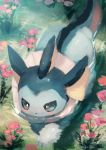 blue_eyes blush commentary_request creatures_(company) flower from_above game_freak gen_1_pokemon highres manino_(mofuritaionaka) nintendo no_humans pink_flower pokemon pokemon_(creature) ripples river signature swimming vaporeon water