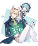 1boy 1girl achan_(blue_semi) ahoge aqua_hair ascot belt blonde_hair blue_background blue_eyes boots breasts coat collared_shirt countdown eiyuu_densetsu gloves grin hat highres invisible_chair jusis_albarea legs_crossed long_sleeves looking_at_viewer millium_orion pants sen_no_kiseki shirt short_hair simple_background sitting small_breasts smile spiked_hair sweatdrop turtleneck two-tone_background white_background white_gloves yellow_eyes
