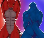 2013 abs anthro blue_skin butt cetacean duo featureless_crotch groudon kyogre legendary_pokémon looking_at_viewer male mammal marine markings muscular nintendo nipples pecs pokémon pokémon_(species) pokémorph pose red_skin slypon solo spikes video_games whale yellow_eyes