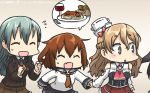 4girls alcohol aqua_hair bare_shoulders blonde_hair braid bread commentary_request corset cup dated drinking_glass fang flying_sweatdrops food french_braid hair_ornament hairclip hamu_koutarou hat highres ikazuchi_(kantai_collection) kantai_collection long_hair mikazuki_(kantai_collection) mini_hat multiple_girls neckerchief pasta school_uniform serafuku spaghetti suzuya_(kantai_collection) sweat wavy_hair wine wine_glass zara_(kantai_collection)