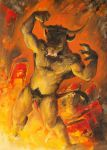 2018 bovine brown_fur eyes_closed fire fur hell horn male mammal minotaur nude penis scale_(artist) traditional_media_(artwork)