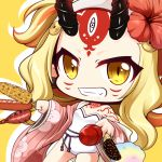 1girl bangs bare_shoulders blonde_hair brown_eyes candy_apple chibi chocolate_banana corn cotton_candy dutch_angle facial_mark fang fate/grand_order fate_(series) floral_print flower food forehead_mark grin hair_flower hair_ornament holding holding_food horns ibaraki_douji_(fate/grand_order) ibaraki_douji_(swimsuit_lancer)_(fate) japanese_clothes kimono long_hair long_sleeves looking_at_viewer oni oni_horns open_clothes open_kimono parted_bangs pink_kimono print_kimono red_flower sausage shachoo. shadow smile solo strapless strapless_swimsuit swimsuit very_long_hair white_swimsuit wide_sleeves yellow_background