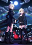 2girls ahoge artoria_pendragon_(all) belt black_dress black_footwear black_jacket black_ribbon black_shirt black_shorts blonde_hair boots breasts cleavage cloud collarbone dress eiffel_tower eyebrows_visible_through_hair fate/grand_order fate_(series) floating_hair full_body full_moon fur_trim ground_vehicle hair_ribbon high_heel_boots high_heels hood hooded_jacket jacket jeanne_d'arc_(alter)_(fate) jeanne_d'arc_(fate)_(all) jewelry knee_boots long_hair medium_breasts meet moon motor_vehicle motorcycle multiple_girls necklace night open_clothes open_jacket outdoors ponytail rainbow ribbon saber_alter shirt short_dress short_hair short_shorts shorts standing thigh_boots thighhighs