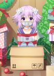 1girl agung_syaeful_anwar blush box choker christmas collarbone d-pad d-pad_hair_ornament gagged gift hair_between_eyes hair_ornament hood hooded_jacket in_box in_container indoors jacket knees_up looking_at_viewer neptune_(choujigen_game_neptune) neptune_(series) purple_eyes purple_hair red_ribbon restrained ribbon short_hair sitting sleeveless_jacket solo striped striped_legwear thighhighs white_choker