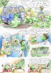 2017 big_hands blonde_hair brown_hair car cervelet child clothed clothing comic detailed_background dialogue doctor dot_eyes female gaping_mouth green_body group hair hairpin hi_res interior kyurem2424 lawn line_art liz_(growing_troubles) lizard long_taur male maria_(growing_troubles) medical_table mri_scanner multi_leg multi_limb multi_torso orange_eyes outside panic red_shirt reptile scalie shaded signature sitting snout speech_bubble standing taur traditional_media_(artwork) triplets_(growing_troubles) van vehicle walking watercolor_(artwork) young