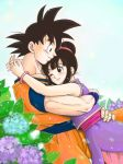 1boy 1girl ;) bare_arms bare_shoulders black_eyes black_hair blue_background blue_flower blush bracelet bubble chi-chi_(dragon_ball) chinese_clothes couple cowboy_shot dougi dragon_ball dragonball_z earrings eyelashes fingernails flower hands_on_another's_hips happy height_difference hetero hug interlocked_fingers jewelry leaf looking_at_another looking_down looking_up masa_(p-piyo) one_eye_closed plant profile purple_flower short_hair simple_background sleeveless smile son_gokuu spiked_hair tied_hair upper_body white_background wristband