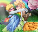 alternate_species animal_humanoid avian avian_humanoid blonde_hair blue_eyes blue_feathers blush clothed clothing cum cum_inside digital_media_(artwork) double_rainbow duo dyna_blade dyna_blade_(species) feathers female green_feathers hair hi_res ho-oh humanoid humanoidized kirby kirby_(series) legendary_pokémon male male/female nintendo penetration penis pokémon pokémon_(species) rainbow red_eyes red_feathers sex smile video_games white_feathers winged_arms wings yellow_feathers yoshimister