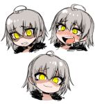 1girl :3 :d ahoge blush chibi commentary disgust drooling english_commentary expressions eyebrows_visible_through_hair fang fate/grand_order fate_(series) fur_trim grey_hair hair_between_eyes j.k. jeanne_d'arc_(alter)_(fate) jeanne_d'arc_(fate)_(all) looking_at_viewer multiple_views nose_blush open_mouth shaded_face short_hair simple_background smile smug sweatdrop white_background yellow_eyes