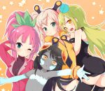 4girls black_hair blonde_hair borrowed_character done_(donezumi) efa_(tunberuku) female flat_chest long_hair multiple_girls original panties pink_hair pointy_ears ponytail underwear yellow_eyes