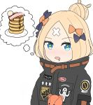 1girl abigail_williams_(fate/grand_order) atsumisu bacon bangs black_jacket blonde_hair blue_eyes bow commentary_request crossed_bandaids drooling fate/grand_order fate_(series) food hair_bow hair_bun heroic_spirit_traveling_outfit highres imagining jacket looking_at_viewer pancake parted_bangs simple_background sketch solo star star-shaped_pupils stuffed_animal stuffed_toy symbol-shaped_pupils teddy_bear upper_body white_background