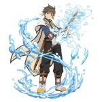 1boy black_pants blue_shirt boots brown_hair cape earrings feather_earrings full_body gloves green_eyes grey_footwear grey_gloves hair_between_eyes highres holding holding_sword holding_weapon jewelry looking_at_viewer pants sheath shirt simple_background smile solo sorey_(tales) spiked_hair standing sword tales_of_(series) tales_of_zestiria unsheathed water weapon white_background white_cape