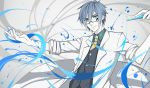 aqua_eyes blue_hair genius_(module) glasses hand_up highres kaito kazenemuri labcoat looking_at_viewer male_focus necktie outstretched_arm project_diva_(series) science smile solo test_tube upper_body vocaloid waistcoat yellow_neckwear