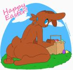 2018 3_fingers 3_toes ambiguous_gender animated anthro arched_back basket big_butt big_thighs biped black_nose blue_eyes bouncing_butt brown_fur brown_hair brown_tail butt butt_focus cloud digital_drawing_(artwork) digital_media_(artwork) easter easter_basket easter_egg egg english_text featureless_crotch floppy_ears fur girly grass hair holiday_message holidays humanoid_hands kneeling lagomorph looking_back loop mammal nude open_mouth outside plantigrade ponytail presenting presenting_hindquarters rabbit rear_view short_tail sky snout soles solo text toes toony twerking url whygena