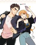 1boy 1girl 302 akihiro_altland backpack bag black_hair blonde_hair blush breasts brown_eyes cellphone character_name choker cleavage dated denim earrings green_eyes gundam gundam_tekketsu_no_orphans heart highres jacket jeans jewelry lafter_frankland locked_arms long_hair medium_breasts one_eye_closed pants phone signature smartphone star sweatdrop tongue tongue_out twintails