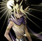 1boy armlet bare_shoulders black_hair blonde_hair blue_scarf bright_pupils closed_mouth commentary_request earrings egyptian_clothes glint hair_between_eyes headpiece jewelry looking_at_viewer male_focus maruchi millennium_puzzle multicolored_hair purple_eyes scarf smile solo two-tone_hair upper_body yami_yuugi yu-gi-oh!
