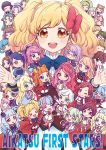>_< 4boys 6+girls ;> ahoge aikatsu!_(series) aikatsu_stars! alice_carol_(aikatsu_stars!) animal_ears ashida_yuuri_(aikatsu!) bangs blonde_hair blue_hair blunt_bangs bonnet bow bowtie caroline_(aikatsu!) character_request chibi closed_mouth commentary_request copyright_name elza_forte epaulettes everyone eyes_closed flower futaba_aria glasses green_eyes green_hair hair_bow hair_flower hair_ornament hairband hanazono_kirara haruka_ruka igarashi_nozomu kasumi_asahi kasumi_mahiru kasumi_yozora kira_kanata kisaragi_tsubasa kizaki_rei looking_at_viewer mizuki_maya multicolored multicolored_hair multiple_boys multiple_girls nanakura_koharu nijino_yume one_eye_closed open_mouth ponytail purple_bow purple_hair purple_skirt red_hair s4_uniform sakuraba_rola saotome_ako school_uniform shiratori_hime shirogane_lilly short_hair skirt smile standing standing_on_one_leg swept_bangs twintails venus_ark_uniform yellow_eyes yotsuboshi_academy_uniform yuuki_subaru