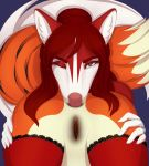 2018 ambiguous_gender anal anthro anus butt canine close-up duo faceless_female female female/ambiguous fox fur mammal one_eye_closed oral pussy red_fur rimming ruruscube sex tongue tongue_out white_fur