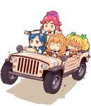 4girls :d ^_^ ^o^ aikatsu! aikatsu!_(series) blonde_hair blue_hair blush blush_stickers bow braid brown_eyes brown_hair car chibi closed_eyes drill_hair driving eyebrows_visible_through_hair eyes_closed fingerless_gloves flower gloves ground_vehicle hair_bow hair_flower hair_ornament hair_ribbon haiteku himesato_maria jeep kazesawa_sora long_hair motor_vehicle multiple_girls o_o open_mouth otoshiro_seira pointing ponytail red_hair ribbon saegusa_kii shadow shirt short_sleeves simple_background smile smirk twintails vehicle white_background