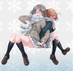 2girls absurdres ahoge back-to-back blush breath brown_hair clover_hair_ornament coat commentary_request covering_mouth eyes_closed hair_ornament highres loafers locked_arms love_live! love_live!_sunshine!! multiple_girls nose_blush orange_hair pleated_skirt scarf shared_scarf shoes short_hair sitting skirt snowflake_background takami_chika watanabe_you winter_clothes winter_coat yuri yuuki_(nijiiro_palette)