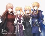4girls :d anniversary artoria_pendragon_(all) artoria_pendragon_(lancer) asymmetrical_clothes bangs bare_shoulders black_bow black_choker black_dress black_gloves black_jacket black_neckwear blonde_hair blue_cape blue_eyes blue_legwear blush bow breasts cape character_request chihuri choker closed_mouth collared_shirt copyright_name dress elbow_gloves eyebrows_visible_through_hair fate/grand_order fate_(series) flower gloves green_eyes grey_background gun hair_between_eyes hair_flower hair_ornament jacket jacket_on_shoulders jeanne_d'arc_(fate) jeanne_d'arc_(fate)_(all) large_breasts light_brown_hair long_hair long_sleeves multicolored multicolored_cape multicolored_clothes multiple_girls necktie open_mouth pink_flower purple_dress red_eyes red_jacket red_skirt see-through shirt side_ponytail sidelocks simple_background skirt sleeveless sleeveless_dress sleeves_past_wrists smile sword thighhighs weapon white_cape white_gloves white_shirt