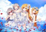 4girls :d ahoge alternate_costume azur_lane bangs bare_shoulders blonde_hair blue_sky blush breasts cleveland_(azur_lane) closed_mouth cloud collarbone columbia_(azur_lane) day denver_(azur_lane) dress dress_lift elbow_gloves eyebrows_visible_through_hair eyes_closed eyewear_on_head flower gloves grey_hair hair_between_eyes hair_ornament halter_dress hand_behind_head hand_up leaning_forward lifted_by_self long_hair medium_breasts montpelier_(azur_lane) multiple_girls nagu ocean one_side_up open_mouth outdoors parted_lips partially_submerged petals pointing pointing_at_viewer red_eyes rose rose_in_hair scrunchie shaded_face signature sky smile sparkle sunglasses very_long_hair wedding_dress white_dress white_flower white_gloves white_rose