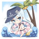1girl anchor_symbol bangs bare_arms bare_legs bare_shoulders barefoot blue_eyes blue_hair blue_hat blue_sailor_collar blue_skirt blue_sky blush chibi closed_mouth cloud cloudy_sky coconut coconut_tree commentary_request crop_top day flat_cap hair_between_eyes hat head_tilt hibiki_(kantai_collection) highres horizon ichi innertube kantai_collection long_hair looking_at_viewer midriff ocean outdoors palm_tree sailor_collar school_uniform serafuku shirt skirt sky sleeveless sleeveless_shirt solo striped striped_innertube transparent tree ve water white_shirt