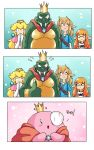 ! anthro breath_of_the_wild bulging_eyes cape cephalopod claws close-up clothed clothing comic crocodilian crossover crown cute donkey_kong_(series) dress ear_piercing english_text fangs female human humanoid humor hybrid hylian inkling king king_k_rool kirby kirby_(series) kremling link looking_down male mammal marine mario_bros musclegut nintendo open_mouth pecs piercing pointy_ears princess princess_peach reptile royalty scalie sharp_claws sharp_teeth shirt size_difference smile splatoon squid standing super_smash_bros super_smash_bros._ultimate teeth tentacles text the_legend_of_zelda thumbs_up video_games yuki-tiramisu