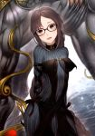 1boy 1girl :d absurdly_long_hair black-framed_eyewear black_dress black_eyes black_hair bodysuit_under_clothes braid breasts breasts_apart consort_yu_(fate) dress fangs fate/grand_order fate_(series) glasses head_tilt kyoeiki light_blush long_braid long_hair looking_at_viewer medium_breasts open_mouth single_braid smile solo_focus striped_bodysuit very_long_hair xiang_yu_(fate/grand_order)