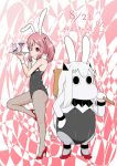 animal_ears anklet bunny bunny_ears bunnysuit cocktail_glass collar commentary_request cup dated drinking_glass fake_animal_ears finger_gun hair_between_eyes hair_bobbles hair_ornament hairband hand_on_hip high_heels highres holding holding_tray horns jewelry kantai_collection long_hair looking_at_viewer mallet moomin multiple_girls muppo one_eye_closed pantyhose pink_eyes pink_hair sazanami_(kantai_collection) sazanami_konami shinkaisei-kan sidelocks smile tail tongue tongue_out translation_request tray twintails white_hair