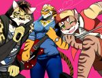 2018 anthro bearlovestiger13 cat clothed clothing clouded_leopard eyewear fangs feline fully_clothed fur glasses group hat hoodie likulau lin_hu male mammal muscular muscular_male nekojishi one_eye_closed open_mouth pants shu-chi striped_fur striped_tail stripes tattoo tiger