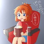 1girl bangs bendy_straw blue_eyes blue_shorts blush brown_hair bucket commentary_request cup disposable_cup drinking_straw eyebrows_visible_through_hair food grey_ribbon hair_ribbon koshigaya_natsumi looking_at_viewer non_non_biyori open_mouth ponytail popcorn red_shirt ribbon seat shika_(s1ka) shirt short_shorts short_sleeves shorts sitting solo translation_request