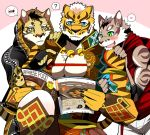 <3 2017 5_fingers anthro bearlovestiger13 black_nose blush claws clothed clothing clouded_leopard english_text feline group hoodie likulau lin_hu male mammal muscular muscular_male nekojishi open_mouth pecs shu-chi text tiger tongue