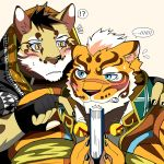 2017 5_fingers anthro bearlovestiger13 black_nose blush book claws clothed clothing clouded_leopard duo feline leopard likulau lin_hu male mammal muscular muscular_male nekojishi teeth tiger