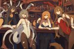 4girls :d animal_ears bare_shoulders black_choker black_legwear black_leotard black_neckwear blue_eyes blue_leotard bottle bow bowtie breasts brown_hair brown_legwear bunny_ears bunny_girl bunnysuit choker cleavage colho_(lansane) detached_collar extra_arms fake_animal_ears gloves grey_hair hair_between_eyes hair_ornament hairband heterochromia highres indoors lansane large_breasts leotard long_hair looking_at_viewer medium_breasts monster_girl multiple_girls necktie one_eye_closed open_mouth orange_eyes orange_hair orange_neckwear orange_ribbon original pantyhose quadriri_(lansane) red_eyes ribbon scar side-tie_leotard sitting smile standing table tail tail_ribbon torn_clothes torn_pantyhose tsana_(lansane) vararia_(lansane) very_long_hair white_gloves white_leotard wrist_cuffs yellow_eyes