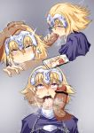 1boy 1girl after_fellatio blonde_hair cellphone chains crying cum cum_in_mouth deepthroat fate/grand_order fate_(series) fellatio finger_in_another's_mouth hand_on_another's_face headpiece heart heart-shaped_pupils highres irrumatio jeanne_d'arc_(fate) jeanne_d'arc_(fate)_(all) oral penis_on_face phone pov purple_eyes rolling_eyes slapping_with_penis smartphone snot streaming_tears sweat symbol-shaped_pupils tears trembling val_(escc4347)