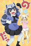2girls :d abiko_yuuji animal_ears argyle argyle_background arm_up bangs black_bow black_footwear black_hair black_neckwear black_skirt blonde_hair blue_shirt bow bowtie breasts brown_eyes commentary_request common_raccoon_(kemono_friends) extra_ears eyebrows_visible_through_hair fang fennec_(kemono_friends) fox_ears fox_girl fox_tail fur_collar hair_between_eyes highres japari_symbol kemono_friends looking_at_viewer medium_breasts multicolored multicolored_clothes multicolored_hair multicolored_legwear multiple_girls open_mouth outline pantyhose partial_commentary pleated_skirt puffy_short_sleeves puffy_sleeves raccoon_ears raccoon_tail shirt shoes short_hair short_sleeves silver_hair skirt smile speech_bubble striped_tail tail thighhighs white_footwear white_hair white_outline white_skirt yellow_bow yellow_neckwear zettai_ryouiki