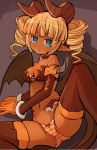 1girl aqua_eyes arm_support bandeau bangs bare_shoulders blunt_bangs blush bow bow_panties breasts brown_bow brown_choker brown_horns brown_legwear brown_tail brown_wings choker cleavage commentary_request curly_hair dark_skin demon_girl demon_horns demon_tail demon_wings dot_nose drill_hair eyebrows_visible_through_hair feet_out_of_frame garoudo_(kadouhan'i) gloves horns jitome leg_lift looking_at_viewer lying medium_breasts medium_hair midriff navel on_side open_mouth orange_gloves orange_hair orange_panties original panties petite pointy_ears short_eyebrows skull solo stomach succubus tail thick_eyebrows thighhighs tongue tongue_out twin_drills underwear wings