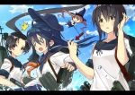 3girls akatsuki_(kantai_collection) anchor_symbol ayanami_(kantai_collection) black_eyes black_hair black_sailor_collar blue_hat blue_sailor_collar blue_sky brown_eyes brown_hair cloud day directional_arrow flat_cap fubuki_(kantai_collection) hat kantai_collection long_hair low_ponytail machinery majokko_(kantai_collection) minoinomi multiple_girls neckerchief outdoors ponytail red_neckwear remodel_(kantai_collection) sailor_collar school_uniform serafuku short_ponytail sidelocks sky smokestack splashing tears torpedo torpedo_launcher upper_body water