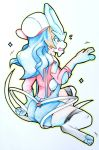 2018 2_tails 3_fingers 3_toes 4_fingers absolute_territory absurd_res blue_fur blue_hair blush brown_hair butt canine clothing crest digitigrade female fezmangaka flying_sweatdrops frown full-length_portrait fur fused_fingers hair handpaw hat hatching_(technique) hi_res hindpaw human legendary_pokémon legwear light_skin looking_at_hand looking_at_self lyra_(pokémon) mammal motion_lines multi_tail multicolored_fur nintendo open_frown open_mouth outline overalls pawpads paws pink_pawpads pokémon pokémon_(species) portrait rear_view red_eyes shadow shiny_pokémon shirt shocked simple_background sitting snout socks solo sparkle species_transformation spikes suicune surprise sweat sweatdrop tail_growth tan_skin thigh_socks thin_tail toes torn_clothing torn_shirt traditional_media_(artwork) transformation two_tone_fur video_games white_background white_fur white_tail wide_eyed