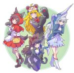 4girls ahoge animal_costume animal_ears black_hair blake_belladonna blonde_hair blue_eyes cape cloak coattails costume gradient_hair highres hood hooded_cloak iesupa long_hair multicolored_hair multiple_girls ponytail purple_eyes red_cape red_hair ruby_rose rwby scar scar_across_eye short_hair side_ponytail silver_eyes two-tone_hair wavy_hair weiss_schnee white_hair yang_xiao_long yellow_eyes