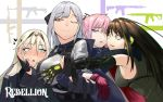 4girls ak-12 ak-12_(girls_frontline) an-94 an-94_(girls_frontline) ar-15 armband armor assault_rifle bangs bare_shoulders black_gloves blonde_hair blue_eyes blush braid breasts brown_eyes brown_hair buckle cheek-to-cheek closed_mouth coat commentary defy_(girls_frontline) elbow_gloves eyebrows_visible_through_hair french_braid gauntlets girls_frontline gloves group_hug gun hair_ornament hairband half-closed_eye hand_on_another's_arm hand_on_another's_cheek hand_on_another's_face headphones highres hug jacket large_breasts long_hair long_sleeves looking_at_another m4_carbine m4a1_(girls_frontline) medium_breasts mod3_(girls_frontline) multicolored_hair multiple_girls one_eye_closed partly_fingerless_gloves pink_hair ponytail purple_eyes ribbed_sweater ribbon rifle scarf sd_bigpie sidelocks silver_hair smile st_ar-15_(girls_frontline) strap streaked_hair sweat sweatdrop sweater sweater_vest tactical_clothes text_focus very_long_hair weapon