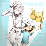 1boy 1girl :d accelerator bangs baseball_cap belt belt_buckle blue_shirt brown_eyes brown_hair buckle choker commentary_request cosplay crossover flag hat hataraku_saibou holding holding_flag holding_hat last_order locked_arms long_sleeves looking_at_another looking_at_viewer momijiyoung open_mouth platelet_(hataraku_saibou) platelet_(hataraku_saibou)_(cosplay) red_eyes shirt short_hair shorts smile t-shirt to_aru_majutsu_no_index white_blood_cell_(hataraku_saibou) white_blood_cell_(hataraku_saibou)_(cosplay) white_cap white_hair