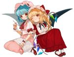 2girls ;t adapted_costume artist_name ascot bangs bat_wings black_neckwear black_ribbon blonde_hair blue_hair blush bobby_socks bow commentary_request crystal dress eyebrows_visible_through_hair fang_out flandre_scarlet frilled_shirt_collar frills gotoh510 hand_holding hand_up handkerchief hat hat_bow head_tilt high_heels holding holding_spoon interlocked_fingers knees_up long_dress long_hair looking_at_another mob_cap multiple_girls nail_polish neck_ribbon one_eye_closed one_side_up parted_lips pink_dress pink_hat pointy_ears puffy_short_sleeves puffy_sleeves red_bow red_dress red_eyes red_footwear red_nails red_neckwear remilia_scarlet ribbon sash short_sleeves siblings signature simple_background sisters sitting smile socks spoon touhou wariza white_background white_legwear white_sash wings wrist_cuffs