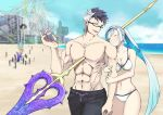 1girl 2boys beach bikini blue_eyes blue_hair blue_sky brynhildr_(fate) fate/apocrypha fate/grand_order fate/prototype fate/prototype:_fragments_of_blue_and_silver fate_(series) glasses impaled looking_at_another male_swimwear multicolored_hair multiple_boys no_nipples polearm projected_inset siegfried_(fate) sigurd_(fate/grand_order) sky spear swim_trunks swimsuit swimwear thumbs_up two-tone_hair walking water weapon yuzuruka_(bougainvillea)